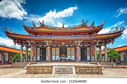 TAIPEI, TAIWAN - 19 JUNE, 2019: View on Taipei Confucius Temple in dalongdong Taipei, Taiwan on 19 June, 2019.