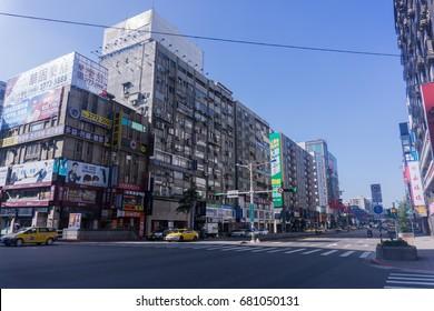 TAIPEI, TAIWAN - 2 January 2017 : Street view at Taipei-Keelung main road in Taiwan. This street is main shopping attraction in Taiwan.