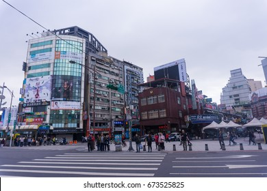 TAIPEI, TAIWAN - 31 December 2016 : The view in front of Ximen station gate 1 at Taipei Taiwan. This gate is nearly the entrance of Ximending shopping street.