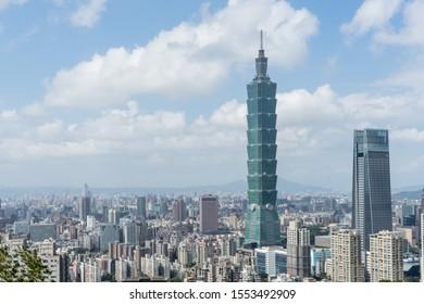 Taipei, Taiwan - 7 November, 2019. Taipei 101 building. Beautiful landscape and cityscape of taipei 101 building in taiwan.