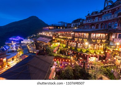 TAIPEI, TAIWAN 8 APRIL 2018; Old street area in Jiufen or Jioufen in Taiwan during twilight. It was once a gold mine village.