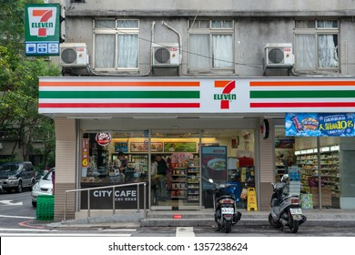 Taipei, Taiwan: April 1 2019: 7-eleven  -  Japanese convenience store franchise, food convenience store front entrance.