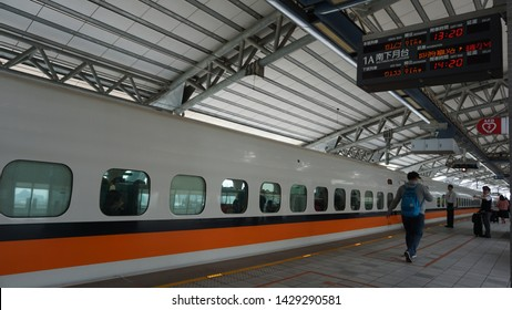 Taipei, Taiwan: April 1st, 2019. Taiwan High Speed Rail is a high speed rail line that runs 350 km, along the west coast of Taiwan, from the capital Taipei to the southern city of Kaohsiung