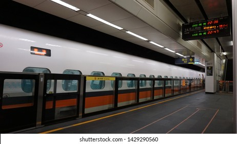 Taipei, Taiwan: April 1st, 2019.Taiwan High Speed Rail is a high speed rail line that runs 350 km, along the west coast of Taiwan, from the capital Taipei to the southern city of Kaohsiung