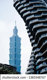 TAIPEI TAIWAN - April 21: Taipei 101 building that behind the Tao Zhu Yin Yuan building on April 21, 2019 in Xinyi District, Taipei, Taiwan.