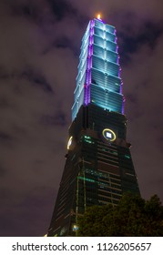TAIPEI , TAIWAN - APRIL 22 : The Taipei 101 building at night on April 22 2018. The building was officially classified as the world's tallest building until 2010