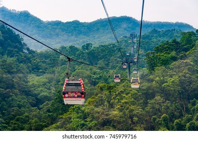 Taipei, Taiwan - April 30, 2016: Maokong Gondola. Opened on 4 July 2007, the Maokong Gondola operates between Taipei Zoo and Maokong.