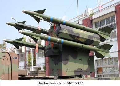 Taipei, Taiwan - Aug 01, 2015: Defense Exhibition, anti aircraft missile