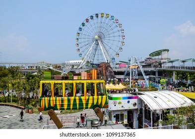 Taipei, Taiwan - AUG 19, 2017: Ferris wheel and recreation facilities In Taipei Children's Amusement Park
