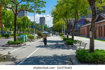 Taipei, Taiwan - Aug 7, 2018 : Street view of Zhonghua Road near ximen in Taipei, Taiwan on August 7, 2018.