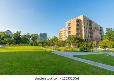 Taipei, Taiwan - Aug 8, 2018 : The building of National Taiwan University against blue sky in Taipei, Taiwan on August 8, 2018.