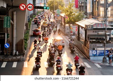 Taipei, Taiwan - August 08, 2018 : Street view in Taiwan. Taipei is the political, economic, educational, and cultural center of Taiwan.