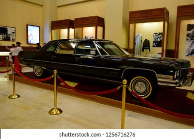 TAIPEI, TAIWAN - August 29, 2018: The Cadillac limousine car of the president Chiang Kai-shek's at Chiang Kai-shek memorial hall, this place is one of the famous tourist destination in Taipei, Taiwan.