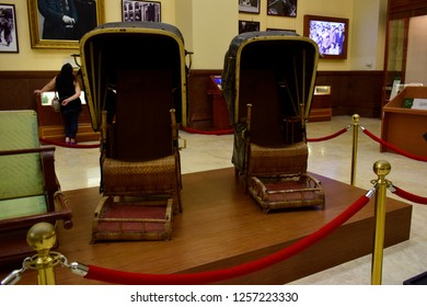 TAIPEI, TAIWAN - August 29, 2018: The sedan chair of the president Chiang Kai-shek's at Chiang Kai-shek memorial hall, this place is one of the famous tourist destination in Taipei, Taiwan.