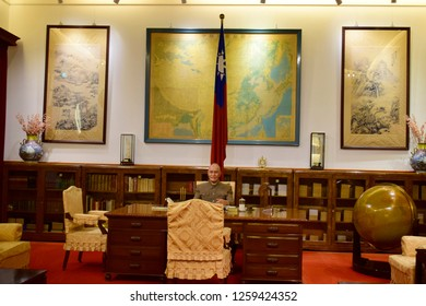TAIPEI, TAIWAN - August 29, 2018: The work official room of the president Chiang Kai-shek's at Chiang Kai-shek memorial hall, this place is one of the famous tourist destination in Taipei, Taiwan.
