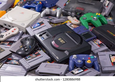 Taipei, Taiwan - August 29, 2018: Many different types of video game systems, controllers, and games shot in a studio.
