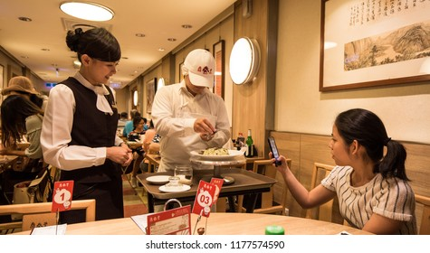 Taipei, Taiwan - August 5th, 2018: Food preparation in the restaurant Dintaifung in Taipei