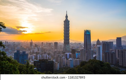 Taipei, Taiwan - August 5th, 2018: Taipei's skyline at twilight with the Taipei 101 in the middle