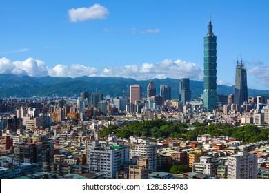 Taipei, Taiwan - August 7, 2016: Densely populated city skyline of Taipei, capital of Taiwan