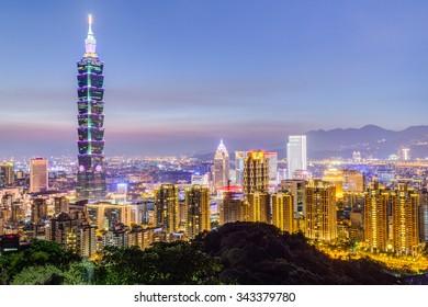 Taipei, Taiwan - circa August 2015: Taipei 101 or Taipei WTC tower in Taipei, Taiwan