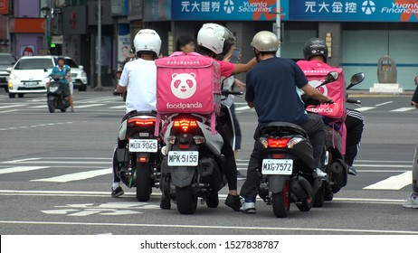 "TAIPEI, TAIWAN - CIRCA AUGUST 2019 : Popular FOOD DELIVERY SERVICE ""FOOD PANDA"" bike at the street."