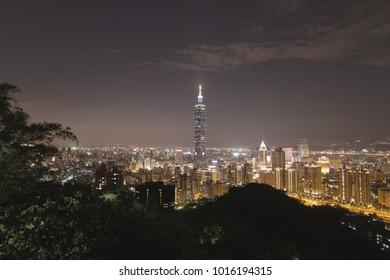Taipei, taiwan - CIRCA December 2013 :Nightlife aerial of Taipei 101 and city