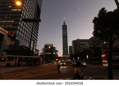 Taipei, taiwan - CIRCA December 2013 :Night Taipei 101 and city