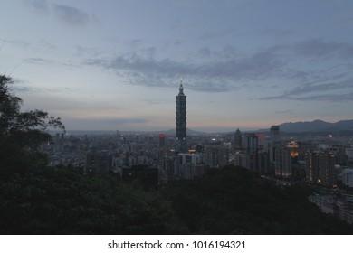 Taipei, taiwan - CIRCA December 2013 Evening aeirial of Taipei 101 and city