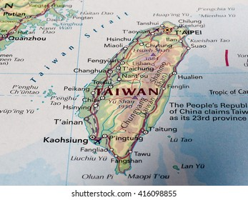 TAIPEI, TAIWAN - CIRCA MAY 2016: Map of the country of with selective focus on country name