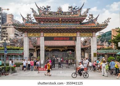 Taipei, Taiwan - circa September 2015: Gate to Longshan Buddhist temple in Taipei city, Taiwan