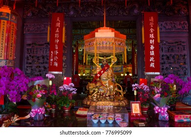 TAIPEI , TAIWAN - DEC 08 : The interior of Chih Nan Temple in Taipei Taiwan on December 08 2017. Chin Nan is a Taoist temple on the hills of Taipei founded in 1882