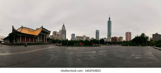 Taipei / Taiwan - Dec 30 2019: Panoramic view at the National Sun Yat-Sen Memorial hall