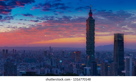 Taipei, Taiwan - December 17, 2018: Panoramic view of Taipei city from the mountain viewpoint after the sunset.