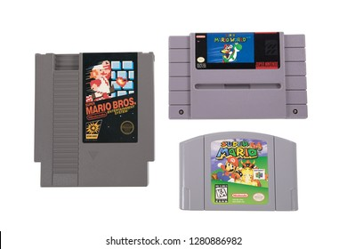 Taipei, Taiwan - December 19, 2018: A studio shot of the first three Super Mario games released by Nintendo
