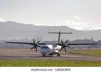 TAIPEI, TAIWAN - December 2, 2018 : B-17008 UNI AIR ATR 72-600 is going to leave Taipei Songshan Airport (TSA) in the morning.