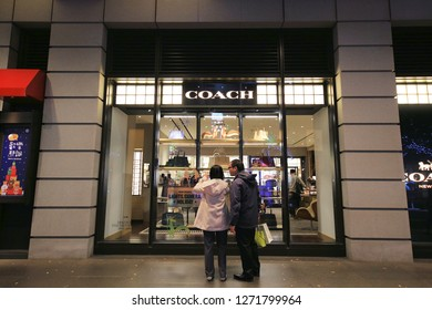TAIPEI, TAIWAN : December 20: Coach at Shin Kong Mitsukoshi Department store near Taipei 101, Xinyi district. December 20, 2018 in Taipe