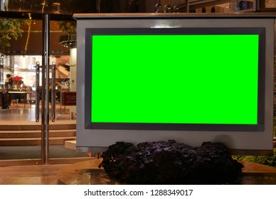 Taipei, Taiwan - December 27, 2018 : Close up of green screen billboard for your ad in front of the shopping mall