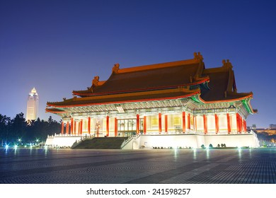 TAIPEI, TAIWAN - DECEMBER 30th: Beautiful winter late evening over National Music Hall, Taiwan, on December 30th, 2014 in Taipei, Taiwan. It is one of the many hot spot to visit for the tourists