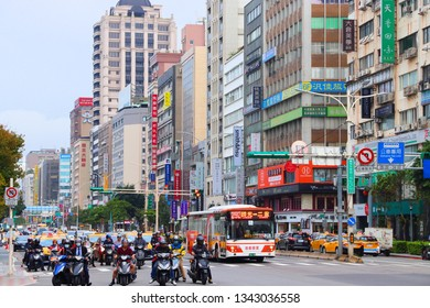 TAIPEI, TAIWAN - DECEMBER 5, 2018: Zhongshan district shopping area in Taipei, Taiwan. Taipei is the capital city of Taiwan with population of 8.5 million in its urban area.