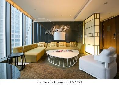 Taipei, Taiwan – December 6, 2015 - Luxury suite room in W Taipei Hotel, Taiwan