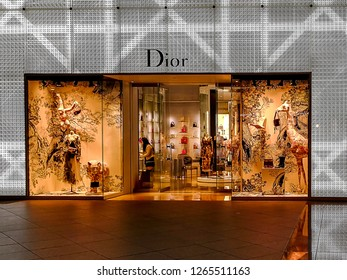 Taipei, Taiwan - December 8, 2018:  Dior storefront in a shopping mall. Dior is a French luxury goods company.