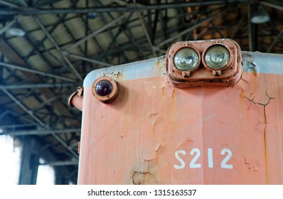 TAIPEI, TAIWAN - Feb 13, 2019: Close up of a decommissioned diesel locomotive S200 series.  This train was introduced in 1960 by Taiwan Railway.