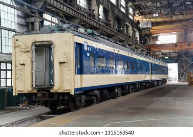 TAIPEI, TAIWAN - Feb 13, 2019: One of Japanese National Railway's decommissioned 583 series sleeping car is being preserved in the Taipei railway museum, which used to be the railway factory.