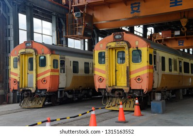 TAIPEI, TAIWAN - Feb 13, 2019: Taiwan Railway's decommissioned EMU100 train, being preserved in the Taipei railway museum, which used to be the factory.  It's the first electric train in Taiwan.