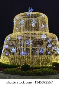 Taipei, Taiwan - Feb 2019: Giant bird cage shaped light lamp decorate with snowflake lights in ATT 4 Recharge