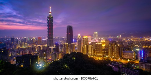 Taipei, Taiwan - February 17, 2018: Taipei is a capital city of Taiwan. Asia business concept image, panoramic modern cityscape building bird's eye view, shot in Taipei, Taiwan.