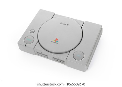 Taipei, Taiwan - February 18, 2018: A studio shot of a Sony Playstation system isolated on a white background.