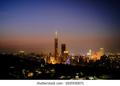 Taipei, Taiwan - February 19, 2018: Taipei is a capital city of Taiwan. Asia modern business concept image, panoramic skyline cityscape (night view), shot in Taipei, Taiwan.