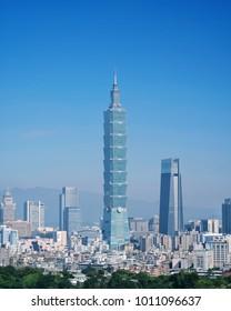 Taipei, Taiwan - Jan 16, 2018: Taipei is a capital city of Taiwan. Asia business concept image, panoramic modern cityscape building bird's eye view, shot in Taipei, Taiwan.