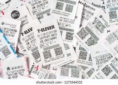TAIPEI, TAIWAN - January 1, 2019: Uniform Invoice lottery from taiwan.